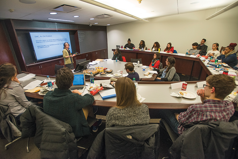 students in the University of Chicago Law School's Charles Evans Hughes Seminar Room