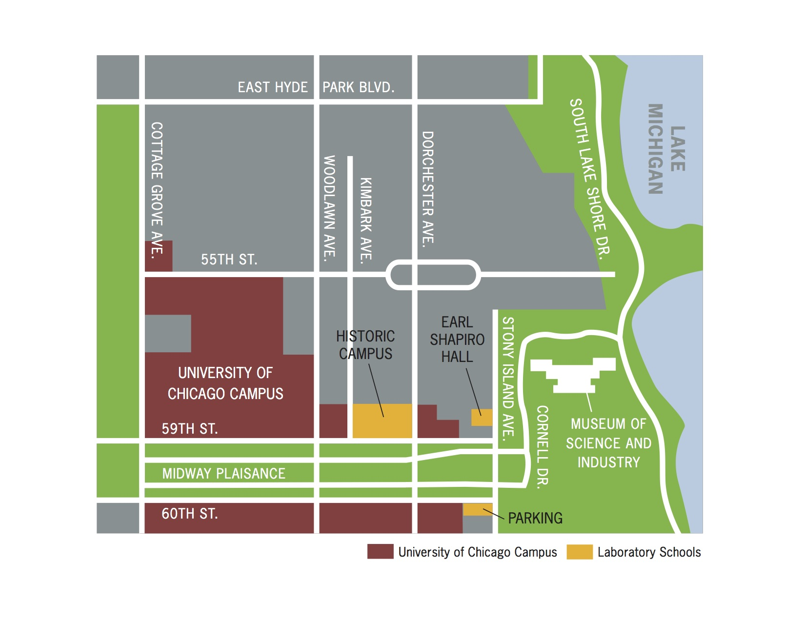Visiting Lab Maps Transportation  Parking University Of - Chicago map safety