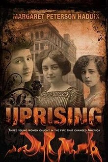 Cover of Uprising by Margaret Peterson Haddix, featuring a vintage photos of three girls over a fire.